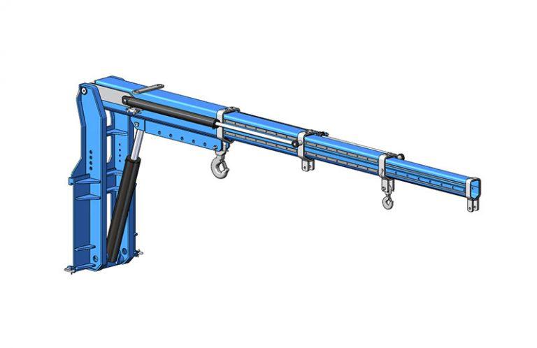 Potence triplex hydraulique sur tablier