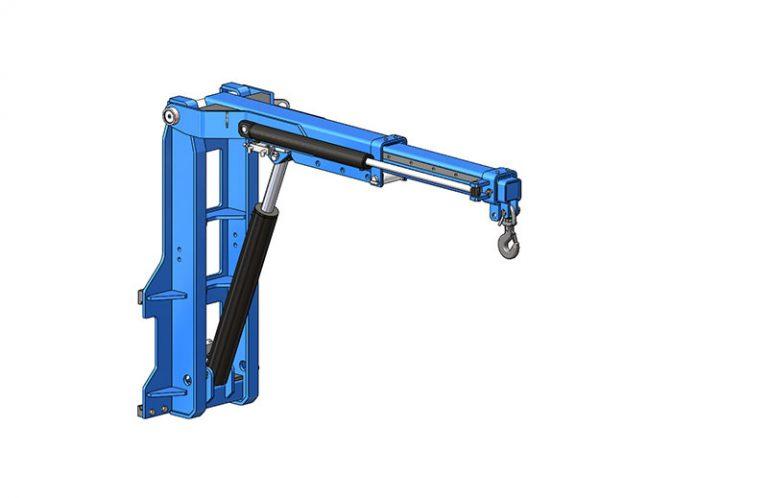 Potence sur tablier hydraulique relevable